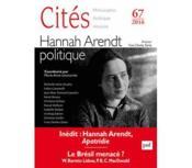 Revue Cites T.67 ; Hannah Arendt Politique - Couverture - Format classique