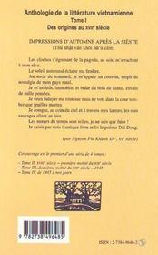 Anthologie De La Litterature Vietnamienne T.1 ; Des Origines Au Xvii Siecle - 4ème de couverture - Format classique