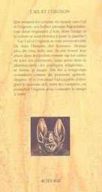 L'Ail Et L'Oignon - 4ème de couverture - Format classique