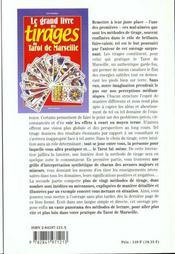 Grand Livre Tirages Tarot De Marseille - 4ème de couverture - Format classique
