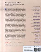 L'interprétation des indices - 4ème de couverture - Format classique