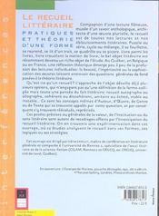 Recueil Litteraire - 4ème de couverture - Format classique