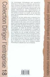 Impact Des Decisions Informatiques. - 4ème de couverture - Format classique