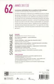 REVUE AGORA DEBATS JEUNESSES N.62 ; vulnérabilité des jeunes et exclusion sociale - 4ème de couverture - Format classique