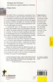 Clinique de l'écriture ; une histoire du regard médical sur l'écriture - 4ème de couverture - Format classique