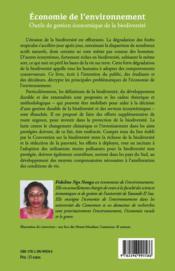 Économie de l'environnement ; outils de gestion économique de la biodiversité - 4ème de couverture - Format classique