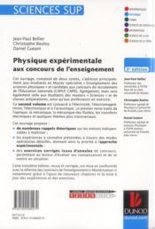 Physique expérimentale aux concours de l'enseignement ; électricité, électromagnétisme, électronique (3e édition) - 4ème de couverture - Format classique