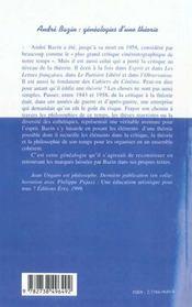 Andre Bazin ; Genealogies D'Une Theorie - 4ème de couverture - Format classique