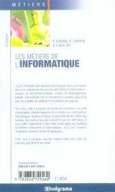 Les métiers de l'informatique (6e édition) - 4ème de couverture - Format classique
