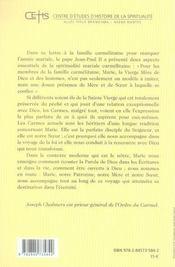 Prier au carmel à l'exemple de Marie - 4ème de couverture - Format classique