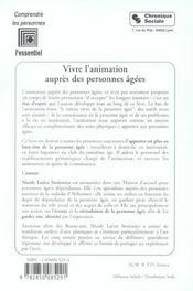 Vivre L'Animation Aupres Des Personnes Agees 5e Edition - 4ème de couverture - Format classique