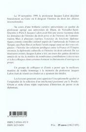 Itineraires ; De L'Histoire Du Droit A La Diplomatie Culturelle Et A L'Histoire Coloniale - 4ème de couverture - Format classique