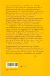 La langue ; mal placé ; déplacé - 4ème de couverture - Format classique