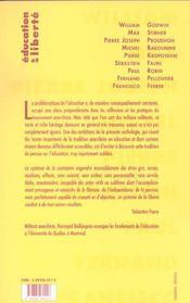 Éducation et liberté, anthologie t.1 ; 1793-1918 - 4ème de couverture - Format classique