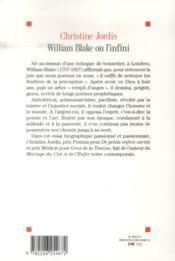 William Blake ou l'infini - 4ème de couverture - Format classique