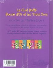 Le Chat Botte ; Boucle D'Or - 4ème de couverture - Format classique