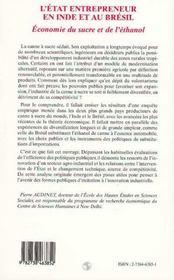 L'Etat Entrepreneur En Inde Et Au Bresil ; Economie Du Sucre Et De L'Ethanol - 4ème de couverture - Format classique