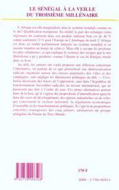 Le Senegal A La Veille Du Troisieme Millenaire - 4ème de couverture - Format classique