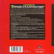 Essentiel De L'Orthographe Et De La Grammaire Francaise (L') - 4ème de couverture - Format classique