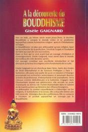 A La Decouverte Du Bouddhisme - 4ème de couverture - Format classique