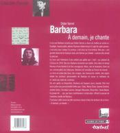 Barbara ; à demain, je chante - 4ème de couverture - Format classique