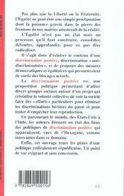 Vive La Discrimination Positive ! Plaidoyer Pour Une Republique Des Egaux - 4ème de couverture - Format classique
