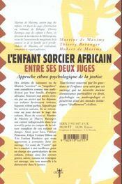 L'enfant sorcier africain entre ses deux juges - 4ème de couverture - Format classique