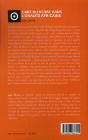 L'art du verbe dans l'oralité africaine - 4ème de couverture - Format classique