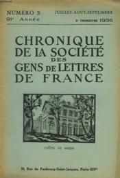 CHRONIQUE DE LA SOCIETE DES GENS DE LETTRES DE FRANCE N°3, 91e ANNEE ( 3e TRIMESTRE 1956) - Couverture - Format classique