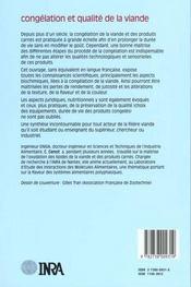Congelation Et Qualite De La Viande - 4ème de couverture - Format classique
