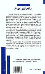 Jean Metellus - 4ème de couverture - Format classique