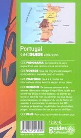 Geoguide; Portugal (édition 2004) - 4ème de couverture - Format classique