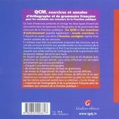 Qcm D'Orthographe Et De Grammaire Francaise Aux Concours De La Fonction Publique - 4ème de couverture - Format classique