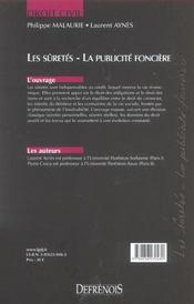 Droit Civil Les Suretes - 4ème de couverture - Format classique