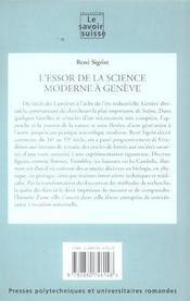 L'Essor De La Science Moderne A Geneve. Science Et Technologie - 4ème de couverture - Format classique