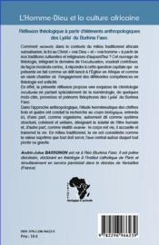 L'homme-dieu et la culture africaine ; réflexion théologique à partir d'éléments anthropologiques des Lyele du Burkina Faso - 4ème de couverture - Format classique