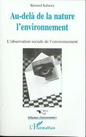 Au-Dela De La Nature, L'Environnement: L'Observation Sociale De L'Environnement - Intérieur - Format classique