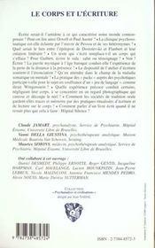 Le Corps Et L'Ecriture - 4ème de couverture - Format classique