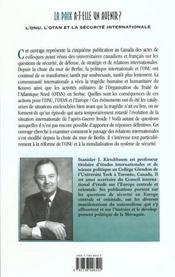 La Paix A-T-Elle Un Avenir ; L'Onu L'Otan Et La Securite Internationale - 4ème de couverture - Format classique