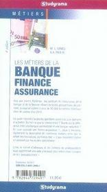 Les métiers de la banque-finance-assurance (4e édition) - 4ème de couverture - Format classique