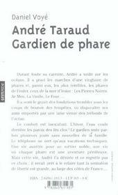 A. Taraud, Gardien De Phare (Poche) - 4ème de couverture - Format classique