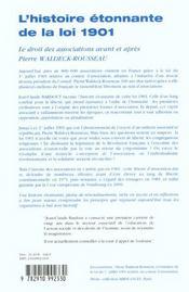L'Histoire Etonnante De La Loi 1901 - 2e Ed. - 4ème de couverture - Format classique