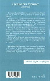 Lecture De L'Etourdit ; Lacan 1972 - 4ème de couverture - Format classique