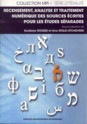Recensement analyse et traitement numerique des sources ecrites pour les etudes - Couverture - Format classique