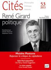 Revue Cites T.53 ; René Girard, Politique - Couverture - Format classique