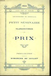 Petit Seminaire De Villenave-D'Ornon. Archidociese De Bordeaux, Annee 1924. Prix. Proclamation Faite Le Dimanche 20 Juillet. - Couverture - Format classique