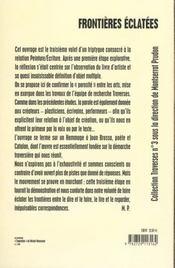Peinture Et Ecriture 3 : Frontieres Eclatees - 4ème de couverture - Format classique
