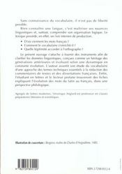 Maitriser Le Vocabulaire Francais - 4ème de couverture - Format classique