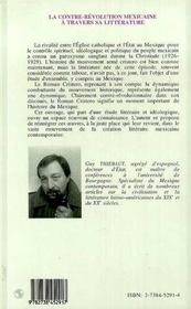 La Contre-Revolution Mexicaine A Travers Sa Litterature - 4ème de couverture - Format classique