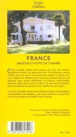 Maisons d'hotes de charme en france - 4ème de couverture - Format classique